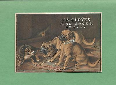 Fighting DOGS AND CATS On J. N. CLOYES SHOES Of UTICA, NY Victorian Trade Card