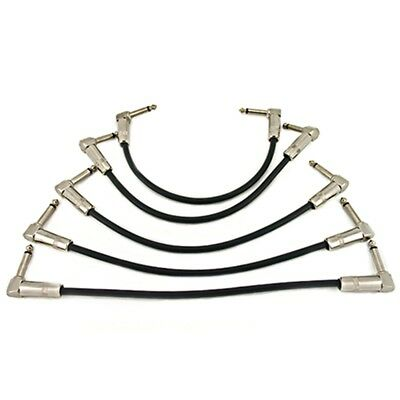 6.35mm 90 Deg Angle Jack Plug Guitar Patch Lead Effects Pedal Cable Pack of 5