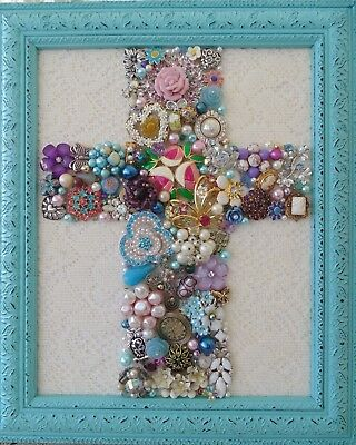 Vintage Jewelry  FRAMED Christmas Tree CROSS ~TURQUOISE~ROSES,DAISES,CAMEO,OWL