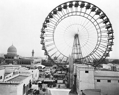 1893 WORLD'S COLUMBIAN EXPOSITION FERRIS WHEEL 8x10 SILVER HALIDE PHOTO PRINT
