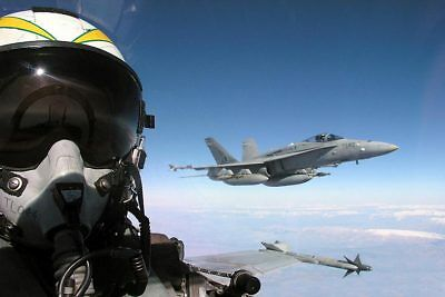 F/A-18 HORNET PILOT VIEW F-18 12x18 SILVER HALIDE PHOTO PRINT