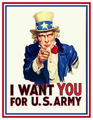 Ejército de Estados Unidos Reclutamiento Póster Tío Sam Wants You ! Punto Cruz