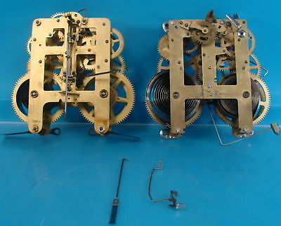 Lot of 2 Early Brass Antique Eight Day Clock Movements Seth Thomas No. 891M S-4