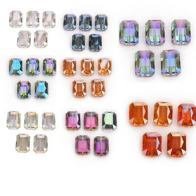 5PCS 18mm Rectangle Square Faceted Crystal Glass Spacer Loose  Beads Jewelry DIY