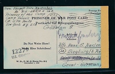 K1975) Kriegsgefangenenpost USA card Cp Roswell New Mexico > Siegburg 17.2.45