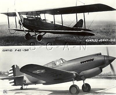 WWII Us Press Foto Luft Force Airplane- Curtiss Jenny Biplane- Curtiss P-40