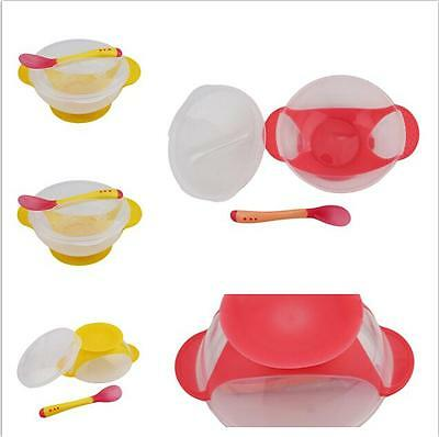 Baby Kids Dishes Feeding Temperature Sensing Suction Cup Bowl Tableware BS