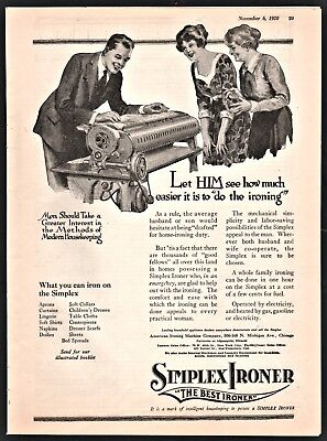 1920 SIMPLEX IRONER Antique Laundry Ironing Appliance AD