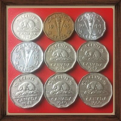 1942-1943-1944-1945-1946-1947-1948-1949-1950-lot Of 9 Canada Nickels #1345