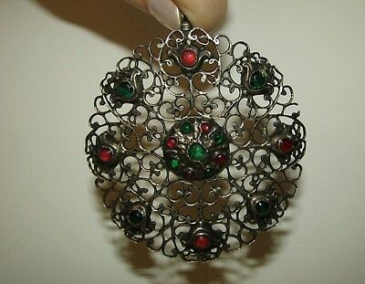 Rare, Huge, Antique, Georgian, Sterling Silver Pendant With Emeralds And Rubies