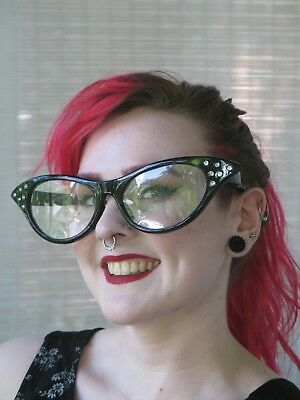 """GIANT 10"""" Cateye Cat Eye Glasses Clear 50s Clown Style Choose Color Photo Booth"""