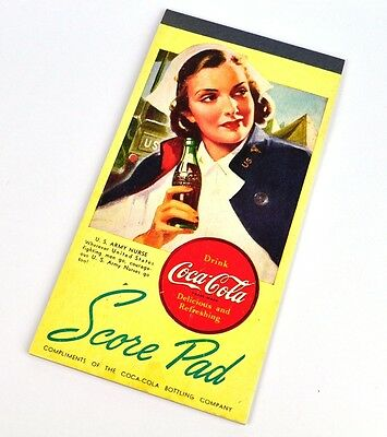Coca Cola Coke Score Pad USA 1948 Bridge Spiel Block Motiv: U.S. Army Nurse