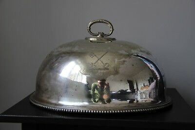Victorian Silver Cloche or Meat Dome with engraved key and sword coat of arms