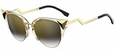 with Brown FF 0295S SUNGLASSES NEW Goldtone Rose Gradient FENDI Y4f0B