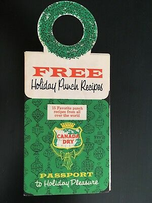 Vintage CANADA DRY Holiday Foldout Full Color Cocktail Punch Recipe Booklet