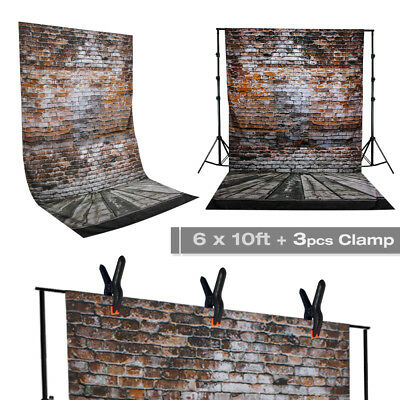6ft x 10ft Brick Wall Photography Background Machine Washable w/ 3 Spring Clamps