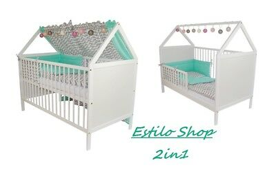 Scandinavian Style House Cot Bed White Wood Baby Mattress Convertable 3 position
