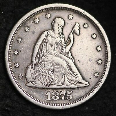 1875-S Seated Liberty Twenty Cent Piece CHOICE XF+ FREE SHIPPING E347 UCTN