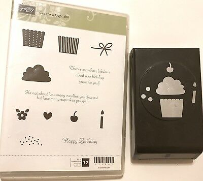 Stampin Up Create A Cupcake Stamp Set Paper Punch Die Cut Lot Party Build Card
