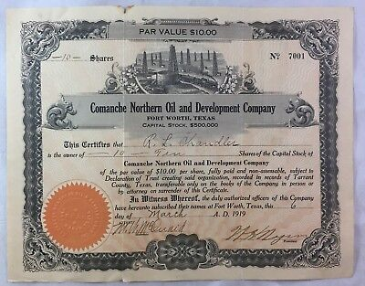 Antique Texas Oil Boom Stock Certificate / Comanche Northern Oil Fort Worth 1919