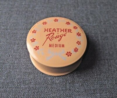 Vintage Heather Rouge Medium Powder Tin Box   Almost Full With Puff