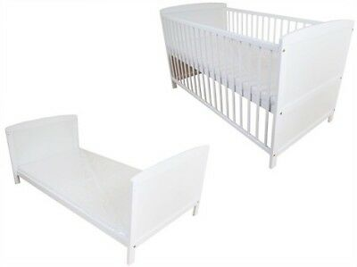 2in1 Baby Toddler Cot Bed Wooden White Convertible From Birth UP TO 6years!