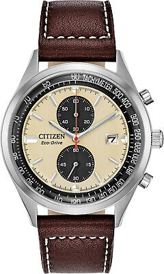 Citizen Quartz BF2009-11A Men's Leather Band White Dial Day Date Analog Watch