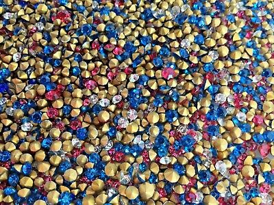 HUGE JOB LOT OF 1000s of  VINTAGE CHATONS/RHINESTONES CLEARANCE ASSD COLOURS