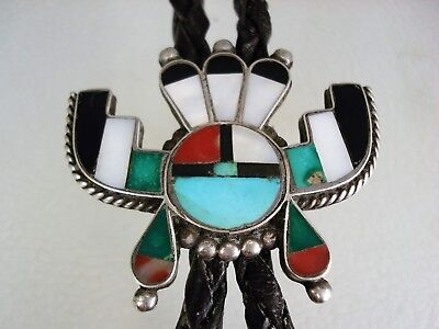 Old Zuni Sterling Silver & Mosaic Inlay Horned Sungod Bolo Tie