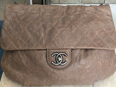 47d544708352 Chanel Taupe Quilted Caviar Elastic Flap Bag Purse Leather Authentic Chain  Strap