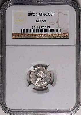 South Africa 1892 Threepence 3 Pence NGC AU-58
