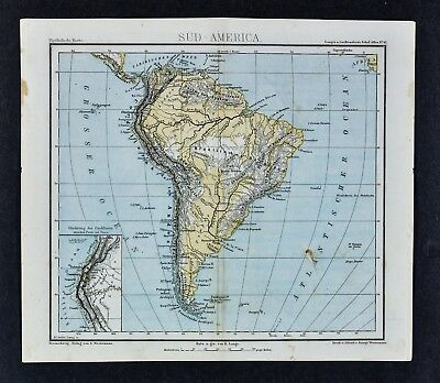 1875 Lange Map - South America Physical - Andes Amazon Pampas Brazil Argentina