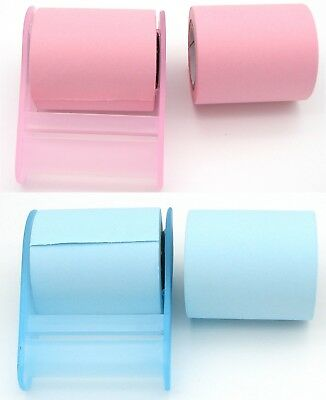 Pink Blue Sticky Note Dispenser Holder w 1 Roll Memo Removable Eco Quality