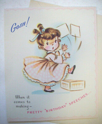 Pretty special speech girl vintage Birthday greeting card #3A unused