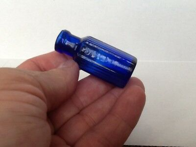 Tiny Antique Cobalt Blue 2 Dram Not To Be Taken Poison Bottle.