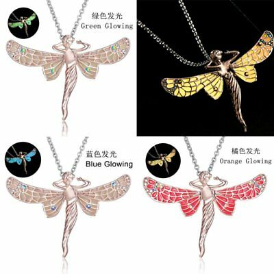 Crystal Women Animal Dragonfly Glowing Luminous Pendant Choker Neckalce Jewelry
