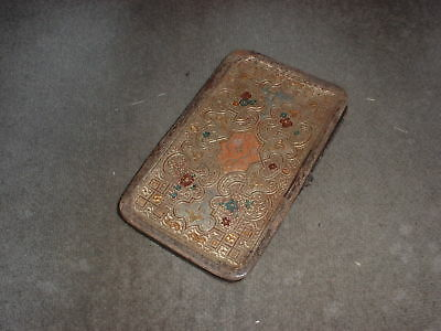 Antique Asian / Oriental Wallet Type Item with Gold inlay decoration metal hinge