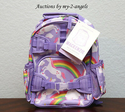 Pottery Barn Kids Mackenzie SUMMER RAINBOW UNICORN Pre-K Mini Backpack LAVENDER