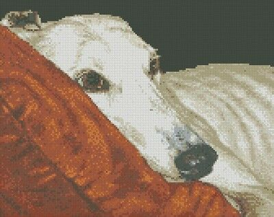 Cross Stitch Chart - Kit Greyhound Dog - Home At Last 2