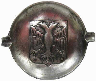 Double Headed Eagle Pewter Ashtray Dish Antique French Heraldic