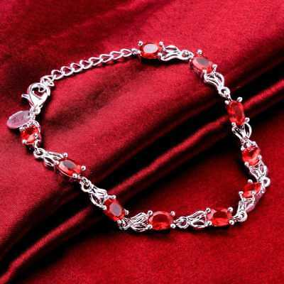 Fashion 925Sterling Solid Silver Jewelry Crystal Heart Bracelet For Women H472