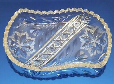 Vtg Antique Cut Crystal Etched Glass Retro Holiday Candy Nut Nappy Serving Dish