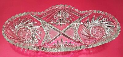 Vtg Antique Cut Crystal Etched Glass Holiday Candy Nut Oval Serving Dish Star