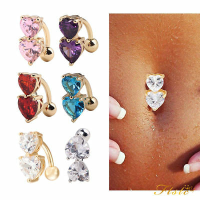 Reverse Crystal Bar Belly Ring Gold Body Piercing Button Navel Two Heart topclts