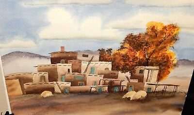 Navajo New Mexico Adobe Building Original Watercolor Landscape Painting Unsigned