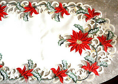 """Christmas Red Poinsettia Lace Dresser Scarf  34""""x 15"""" Doily Table Runner"""