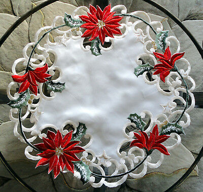 """Doily 15"""" Christmas Red Poinsettia Round Holiday Table Topper"""