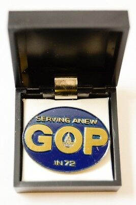 #2 1972 Republican GOP National Convention Miami Serving Anew in 72 Pin Medal