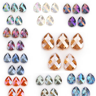 18x8mm 10Pc Faceted Crystal Glass Teardrop Spacer Loose Beads Jewelry Necklace