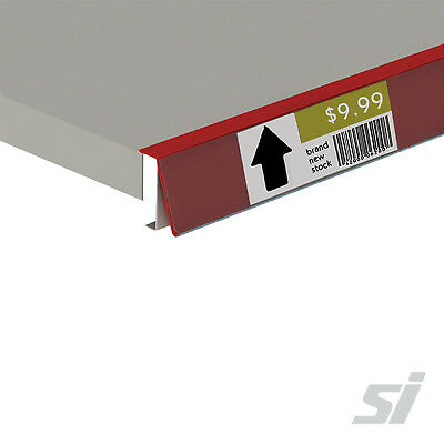50 Pcs x Angled Data Strips for Retail Shelving Shop Displays - Red